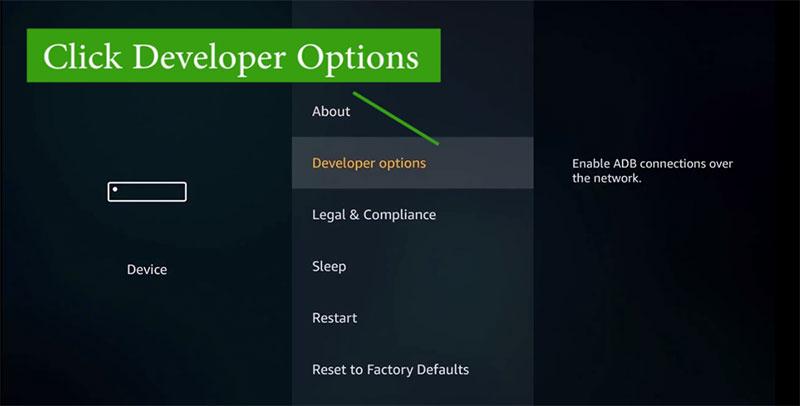Fire TV developer options
